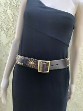 HTC Hollywood Trading Company Studded Brown Leather Belt. Size 32. Authentic