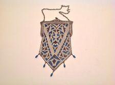 Vtg Mandalian Lustro-Pearl Enamel Mesh Hand Bag Purse Art Deco Blue Black