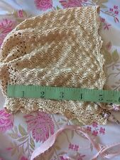 Antique Bonnet Doll Baby Knit Vintage Lace Silky Dainty Clothes Costume Nubby