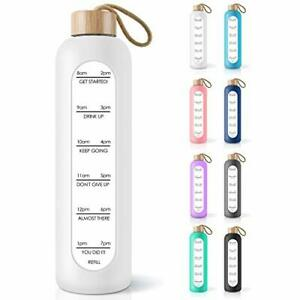 PROBTTL 32 Oz Borosilicate Glass Water Bottle with Time Marker Reminder Quote...