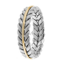 14K GOLD BRAIDED WEDDING RING TWO TONE WEDDING BANDS YELLOW AND WHITE GOLD