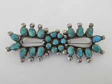 Charming Old Pawn Zuni Petit Point Sterling Silver Bow Turquoise Pin Brooch