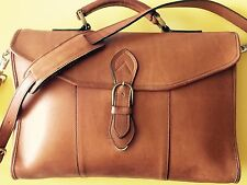 """Vintage  Great Briefcase Unisex Made In USA Belting Cognac Color Sz14x12 """"Inches"""