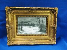 Hand Painted Night Time Snow Scene Victorian Framed Porcelain 10 X 6 Plaque