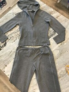 Express Hoodie Jacket Pant Set Charcoal Gray Athletic Lounge Stretch M/S Pull On