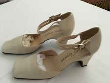 CHARLES JOURDAN WOMENS CREAM MID HEEL ANKLE STRAPS ALL LEATHER SHOE size 8.5