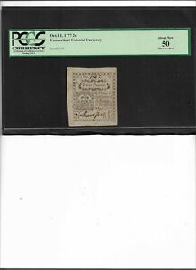 Connecticut Colonial Currency Oct. 11, 1777 2d About New 50