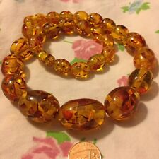 Amber Necklace Chunky beads , Barrel Clasp , Large Beads