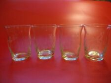 Four etched vintage tot glasses - elegant, simple - beautiful 'vase' shape