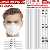 200 PCS Aluminum Nose Bridge Strip Wire With Adhesive For Face Mask DIY 85mm US