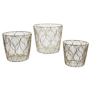 Handmade Ogee Wave Wire 3 Piece Brass Basket Set by Drew Barrymore Flower Home
