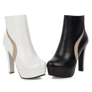 Women Chic Chelsea Ankle Boots Platform Zip Block High Heel Winter Booties Shoes