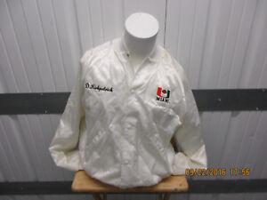 VINTAGE HANCO UM MIAMI HURRICANES FOOTBALL XL SEWN SATIN WHITE JACKET 80/90s