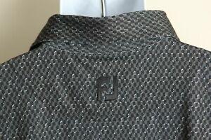 FootJoy FJ Men's black, gray and white detailed short sleeve golf polo shirt 2XL