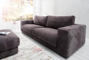 Candy Polstergarnitur SEVENTIES 3-Sitzer Cord 290 cm dunkelgrau Sofa / Couch
