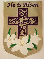 """Burlap """"He is Risen"""" Purple Felt-feel Christian Cross & Easter Lily Garden flag"""