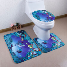 3pcs/set Nonslip Bathroom Pedestal Lid Mat Pad Toilet Rug Underwater World