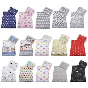 2 tlg. Set Bezug für Kinderbett Baby Garnitur Wagen Bettwäsche -*Decke + Kissen*