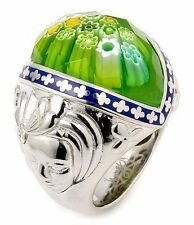 ALAN K EXQUISITE COLLECTION RING BLUE ENAMEL,FACETED GREEN MURANO GLASS & SILVER