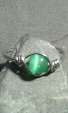 Handmade Natural Green Cat's Eye Gemstone Silver Wire Wrapped Ring Size Q /8,5