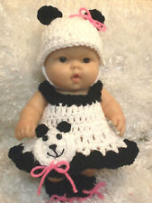 Handmade Clothes For 10 Inch Berenguer/ Reborn Doll. Panda Bear Dress Set