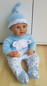 Brand New BABY ANNABELL/BROTHER Blue Sleepsuit & Hat Set 17-19 inch boy doll