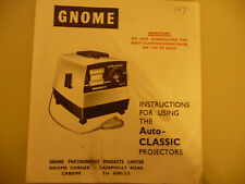 Instructions slide projector GNOME Auto-CLASSIC  CD/EMail
