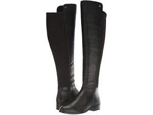 MICHAEL KORS Bromley Nappa Knee High Block Heel Black Leather Boot Size 6.5