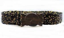 Stretch Belt Balinese Black Gold Bronze Jeweled Glass Bead Wood Buckle Handmade