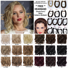 "Buy 2 FREE HEADBAND KoKo16"" Heat Resistant 1 Piece Curly  Short Hair Extensions"