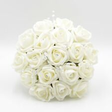 Artificial Wedding Flowers Bridesmaids Bouquet Posy Foam Roses Ivory Diamante