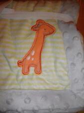 Child of mine Carters Yellow Stripe Gray Minky Dot Giraffe Baby Crib Blanket