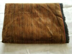 """Brown Upholstery Velveteen Fabric 56"""" W x 30"""" L coated back Vintage New"""
