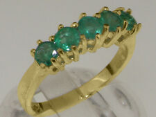 18ct 750 Yellow Gold Natural Emerald Womens Eternity Ring - Sizes J to Z