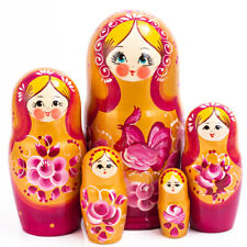 """7"""" 5 pcs Russian Dolls Traditional Hand Painted Nesting Doll Rooster Artwork"""