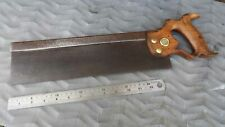 """Vintage 14"""" Steel Back Tenon or Carcase Saw by Henry DISSTON USA Old Tool"""