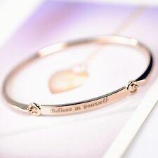 Quote Women Yourself Cuff Love Fashion Rhinestone Jewelry Bracelet Bangle Rose Gold