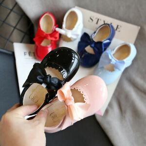 Baby Girls Spanish Bowknot Shoes Mary Jane Shiny Wedding Party Patent Flat Shoes