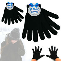 2 Pairs Winter Magic Gloves Classic Knit Warm Gloves Man Woman Teens Soft Black