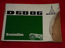 DEUTZ D 6006 Schlepper Ersatzteilliste Z1006-1 von 1968