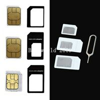 3x Micro Sim Card Adapter Standard Tray Adapters Cutter For Apple Iphone 4 4S 5