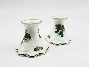 Vintage Queen's Rosina Yuletide Fine Bone China Christmas Candle Holders England