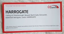 VIRGIN TRAINS EAST COAST WINDOW LABEL London King's Cross-Harrogate 1D26 Su Rail