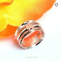 Spinner Ring, Meditation Ring 925 Sterling Silver Band Brass Handmade All Size