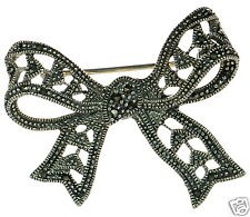 Solid 925 Sterling Silver Marcasite Bow Pin Brooch '