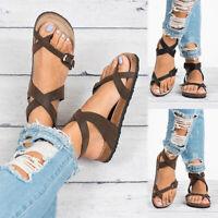 New Women Summer Adjustable Buckle PU Sandals Slipper Shoes Beach Fashion