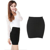 Women Pleated Seamless Stretch Tight Bodycon Mini Skirt Short Pencil Dress Black