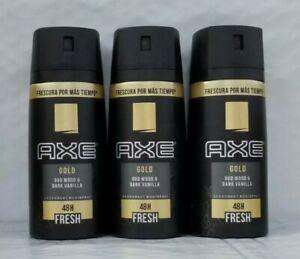 3 Axe Body spray gold oud wood & dark vanilla 150ml/5.07oz ea