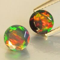 1.14Ct Natural Color Play Ethiopian Black Opal Round 6mm Matching Pair Ref VOD