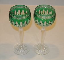 Set of 2 Waterford Crystal Clarendon Emerald Green Wine Hocks Goblets